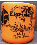 Vintage FLORIDA COFFEE BREAK SOUVENIR FEDERAL GLASS Orange MUG USA FLAMI... - $88.99