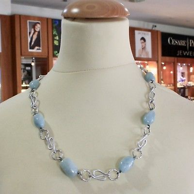 ALUMINUM NECKLACE WITH BLUE AQUAMARINE HAND-MADE IN ITALY 23 INCHES LONG