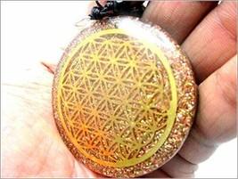 Jet Orgone Flower of Life Chakra Pendant Round 2 inch approx. 3rd Eye Cr... - $28.49