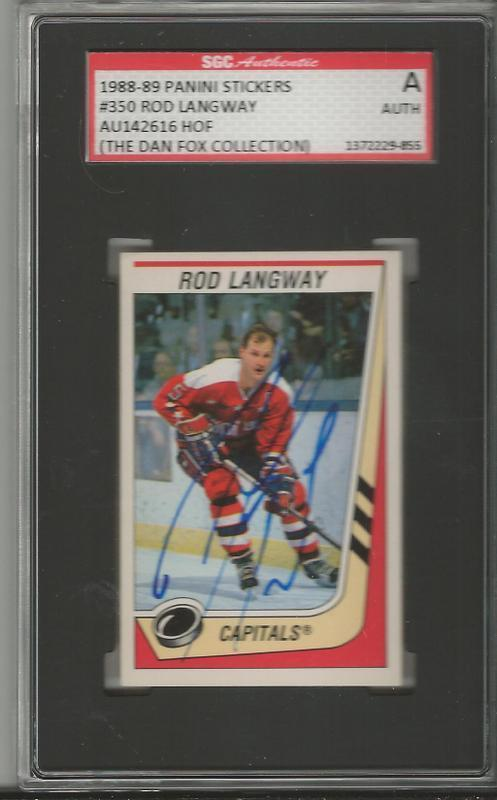 Rod Langway 1990 Panini Stickers Autograph #350 SGC Capitals