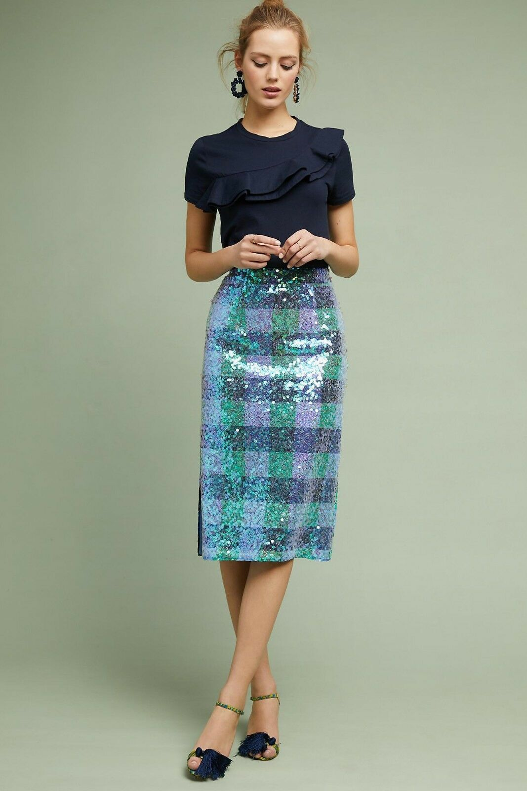 Primary image for NWT ANTHROPOLOGIE BRIX SEQUINED PALETTE MIDI SKIRT by MAEVE 6