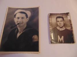 Antique 2 Black & White Photos-Display-Prop-Photography-2 Men-Pipe-Navy-... - $7.00