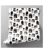 Wallpaper White/Black House Print Hearth & Hand with Magnolia Pre-Pasted... - $42.56
