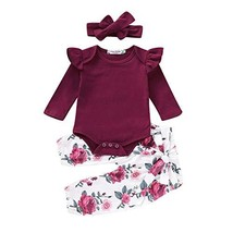 3PCS Infant Toddler Baby Girl Clothes Ruffle Cotton Romper Long Sleeve B... - $15.08