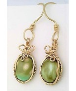 Variscite Gold Wire Wrap Earrings 12 - £34.41 GBP
