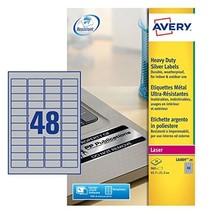 Avery L6009-20 Heavy Duty Label (Sheet of 45.7 x 21.2 mm, 960 Labels) - Silver  - $33.00