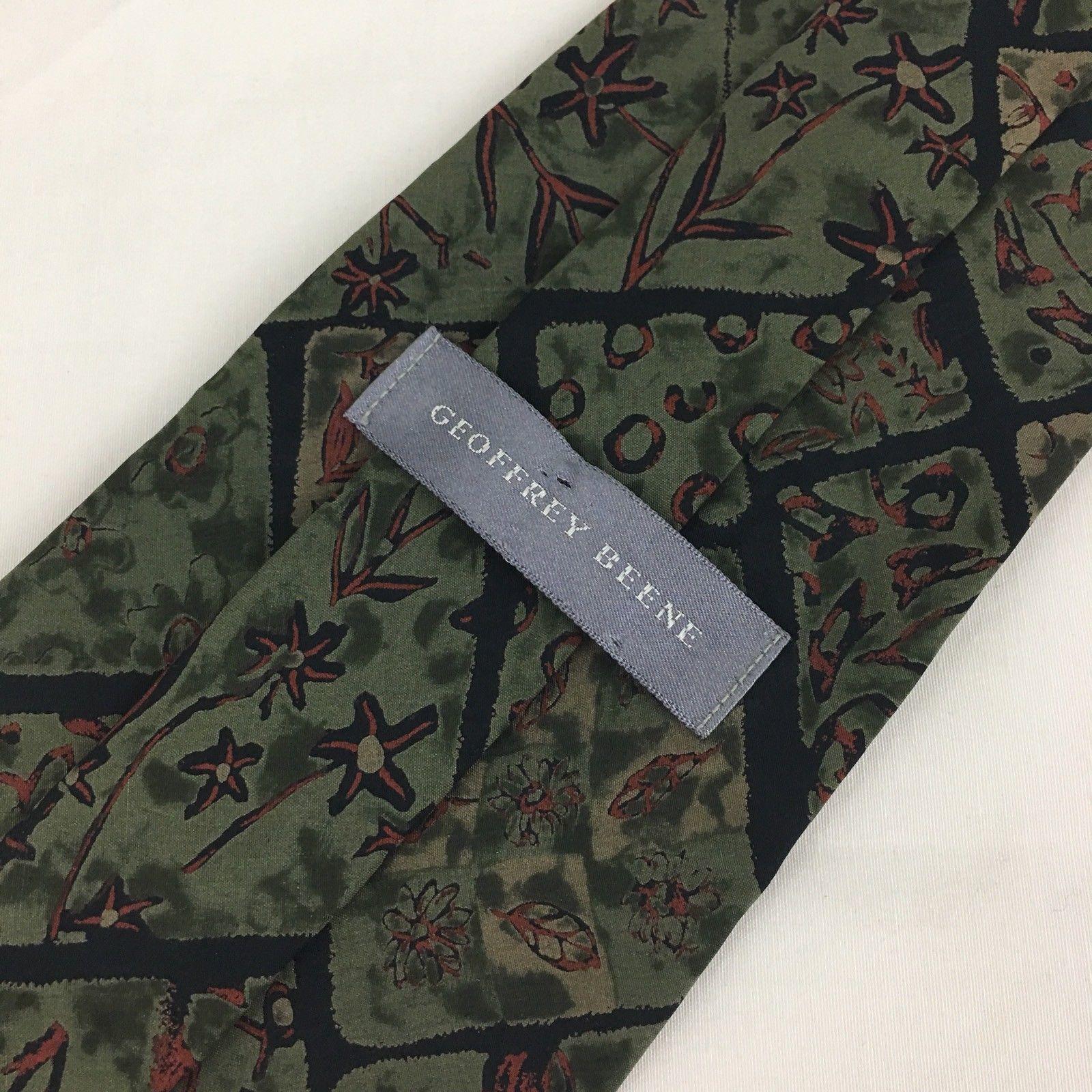 Geoffrey Beene Silk Tie Green Brown Floral 4 Inch Wide image 3
