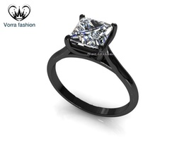 Solitaire Engagement Ring Princess Cut White CZ Black Rhodium Finish 925... - ₹5,290.82 INR