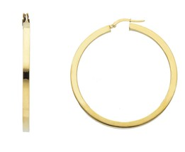 18K YELLOW GOLD CIRCLE EARRINGS DIAMETER 40 MM WITH SQUARE TUBE   MADE IN ITALY image 1