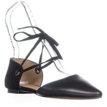 Coach Roy Lace-up Pointed Toe Flats, Black/Black, 7.5 US / 37.5 EU - $60.47