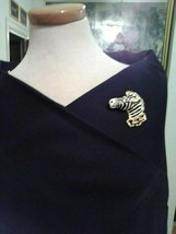 Vintage Goldtone Pin Brooch Enamel Zebra Head Black & White W/ Rhinestones - $45.00