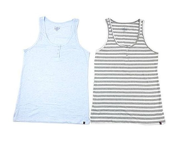 Tommy Hilfiger Ladies' 2-pack Henley Tank, Blue/Grey-White Stripes, Size XL - $14.84