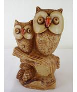 Vintage Owl & Chick Statue Figurine Bird Heavy Made in Italy Mid-Century... - $34.98