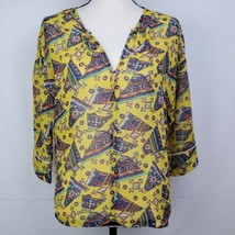 Umgee Womens Blouse M Yellow Floral Geometric Sheer Top Shirt Boho Bohemian - $15.99