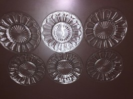 6 Colonial Knife And Fork Crystal Lunch Plates - $9.16