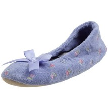 ISOTONER Women's Embroidered Terry Ballerina Slipper, Perriwinkle, Large - $19.57