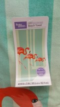 NWT Better Homes & Gardens Beach Towel 40 x 72 Inches Flamingoes on Green - $21.40