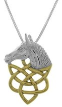 Jewelry Trends Sterling Silver Horse Head with 14k Gold-Plated Celtic Kn... - $51.19