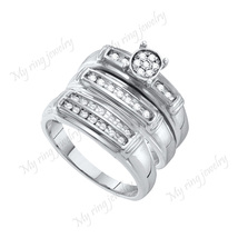 Bridal Trio Ring Set Men Ladies 14k White Gold Round Micro Pave Diamond - $168.88
