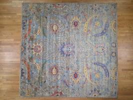 "12'2""x12'2"" Square HandKnotted Sickle Leaf Design Silk Oxidized Wool G44205 - $4,776.14"