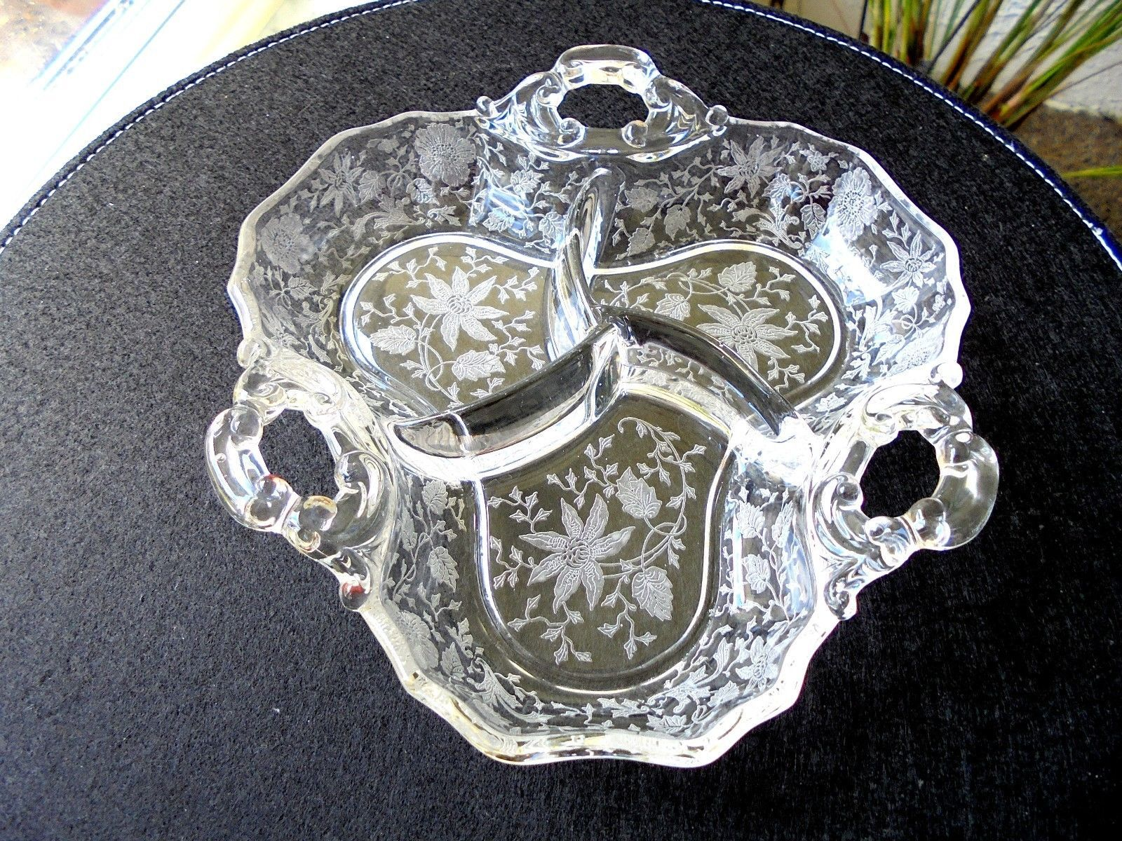 vintage cambridge wild flower pattern 3 part relish dish c 1939 1958 2475 - Cambridge Glass