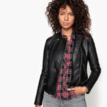 New Designer Stitched Cropped Length Women's Genuine Leather Biker Jacket