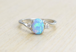 Oval,Round Cut Blue Opal,White Diamond Womens Eternity Ring Solid 18k White Gold - $489.99
