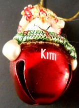 Kim Personalized Red Jingle Bell Snowman Lady Christmas Ornament No Date - $4.99