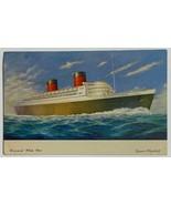 Cunard White Star Line RMS Steamer Queen Elizabeth Ship Postcard  - $14.65
