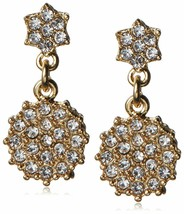 Fragments Gold Plated Pavé Cubic Zirconia Crystal Floral Drop Post Earrings NWT image 1