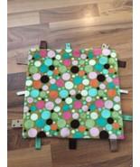 Taggies Baby Lovey Security Blanket Green Pink Teal Polka Dots Ribbon Tags  - $18.69