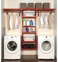 Red Mahogany Wood Deep Laundry Organizer Home Improvement Storage Furniture - $515.86