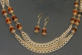 """Vtg Sarah Coventry 51"""" Triple Strand Chain w/ Amber Beads - Necklace & Earrings - $40.00"""