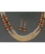 """Vtg Sarah Coventry 51"""" Triple Strand Chain Necklace @ Earrings with Amber Beads - $40.00"""