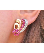 ANTIQUE RETRO .66ctw DIAMOND RUBY BRUSHED 18K HUGGIE COCKTAIL EARRINGS 1940 - £877.50 GBP