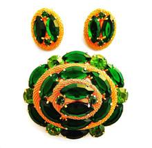 Vtg peridot dark green rhinestone gold tone mesh brooch pin clip on earr... - $22.72