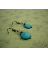DARLING BLUE MOTHER OF PEARL EARRINGS - $10.00