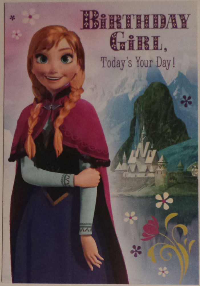 "Greeting Card Birthday Disney's Frozen ""Birthday Girl, Today's Your Day!..."""