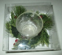 Allstate votive candle holder and faux holly Christmas decor - $4.99