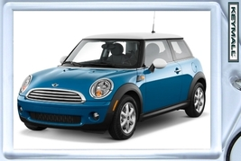 KEY CHAIN ICE BLUE WHITE TOP MINI COOPER KEYTAG... - $9.95