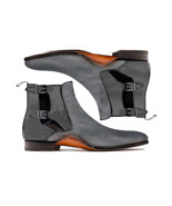 Monk Ankle Boots Men's Gray Suede Leather Double Buckle Strap Premium Quality - $156.79 - $215.59