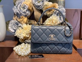 AUTH CHANEL TIFFANY BLUE QUILTED LAMBSKIN TRENDY CC 2 WAY HANDLE FLAP BAG GHW