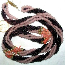 Vintage Amethyst Pink Quartz Black & Angel Skin Coral Torsade Necklace - $44.00