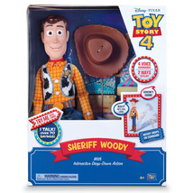 Disney Pixar Toy Story 4 Sheriff Woody w Interactive Drop-Down Action Ne... - $69.99