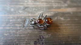 """1 1/8"""" Sterling Amber Spider Insect Brooch - $44.54"""