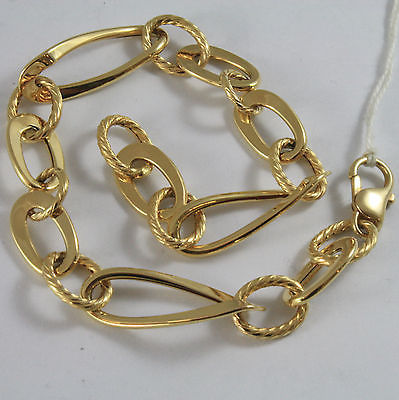 18K YELLOW GOLD BRACELET WITH FINELY WORKED OVAL LINK, MADE IN ITALY