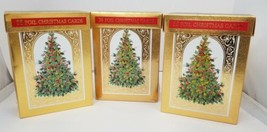 Foil Christmas Cards w Envelopes Set of 3 Boxes 108 Total Cards Unused H... - $14.50
