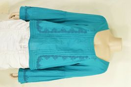 Free People top SZ S turquoise teal beaded long bell sleeves hippie boho gypsy image 11