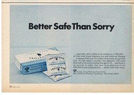 1971 TROJAN Enz Lubricated CONDOMS better safe than sorry Print Ad  - $9.99