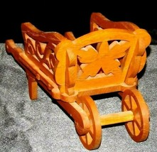 Wood wheel barrel replica with scroll cut Design AA19-1637 Vintage image 1